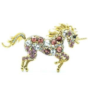Graceful Purple Unicorn Horse Brooch Costume Pin Women Rhinestone Crystals 6172