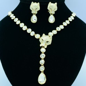 Beads Drop Swarovski Crystal Animal Panther Leopard Necklace Earring Jewelry Set