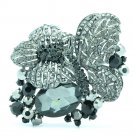 VTG Style Sparkling Butterfly Brooch Pin Black Rhinestone Crystals Insect 6407