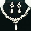 Wedding Faux Pearl Necklace Earring Set Rhinestone Crystals Women's Jewelry 6040