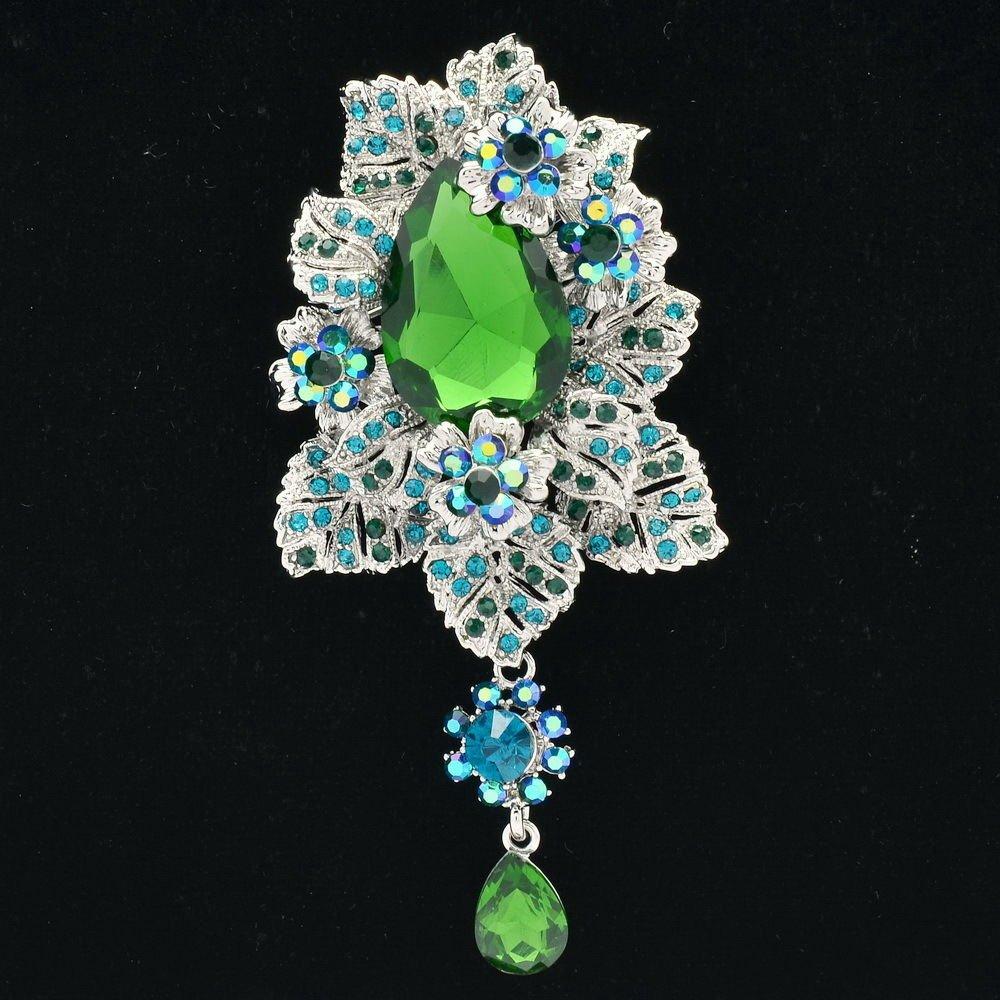 Women Jewelry Green Leaf Flower Broach Brooch Tear Drop Rhinestone Crystal 6176