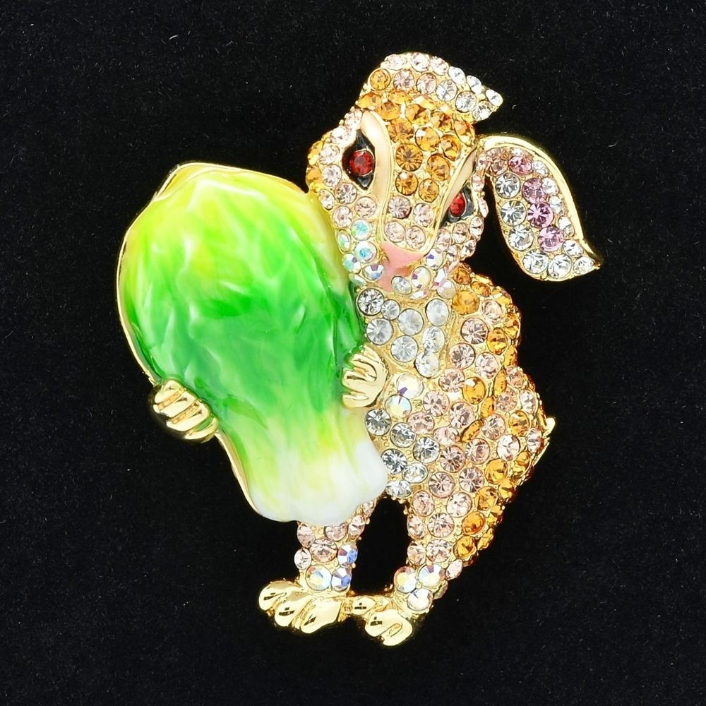 Cabbage Bunny Rabbit Brooch Broach Accessories Yellow Swarovski Crystal SBA4507