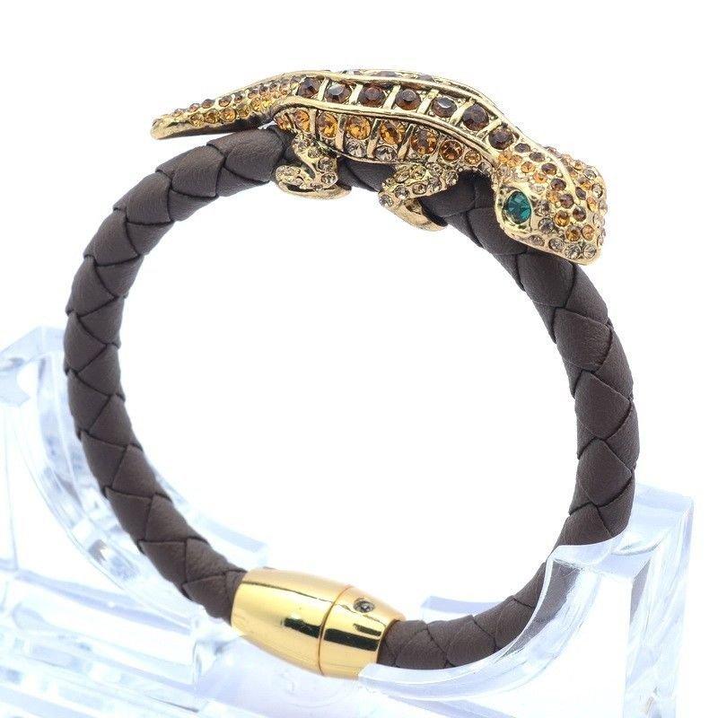 Synthetic Leather Gecko Lizard Bracelet Bangle Brown Swarovski Crystals  SK1737