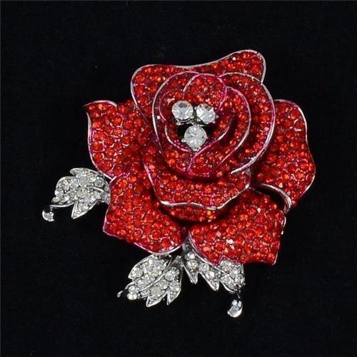 "Rhinestone Crystal Charming Red Rose Flower Brooch Pin Women Jewelry 2.1"" FB1077"