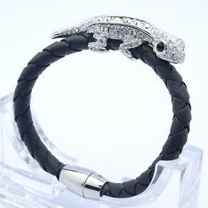 Synthetic Leather Gecko Lizard Bracelet Bangle Clear Swarovski Crystals  SK1737