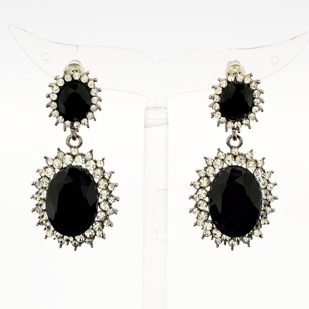 Dazzling Black Dual Oval Pierced Dangle Earring W/ Rhinestone Crystals 122115