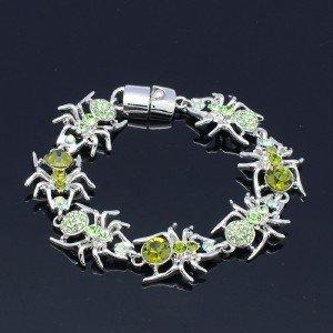 Halloween Lnsect 7 Tarantula Spider Bracelet Bangle W/ Green Rhinestone Crystals