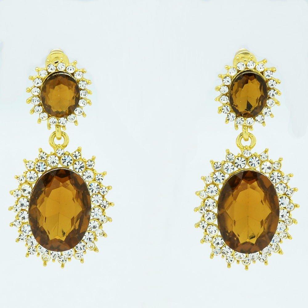 Dazzling Brown Dual Oval Pierced Dangle Earring W/ Rhinestone Crystals 122115