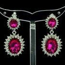 Dazzling Fuchsia Dual Oval Pierced Dangle Earring W/ Rhinestone Crystals 122115
