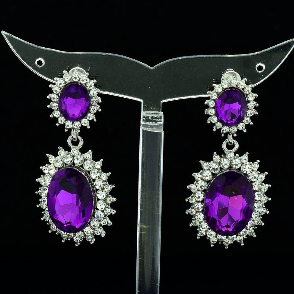 Dazzling Purple Dual Oval Pierced Dangle Earring Women Rhinestone Crystal 122115