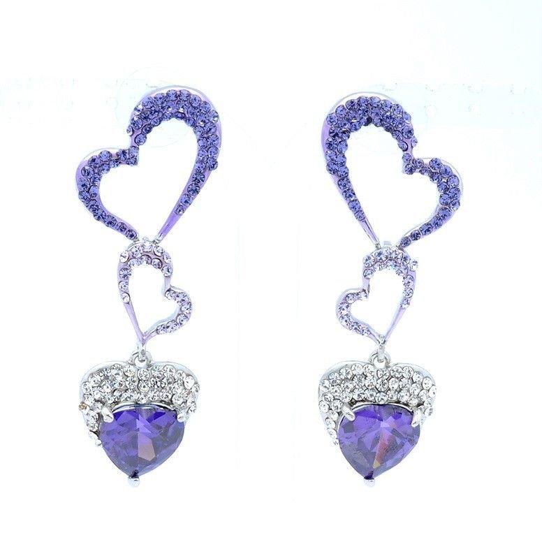 Purple Heart Pierced W/ Zircon Earring Pendant Jewelry Swarovski Crystals 375801