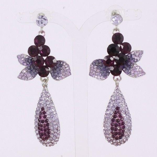 Rhinestone Crystals Grape Purple Flower Pierced Earrings Women's Spring Jewelry