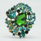 Teardrop Flower Brooch Pin Pendant Green Rhinestone Crystal 6173