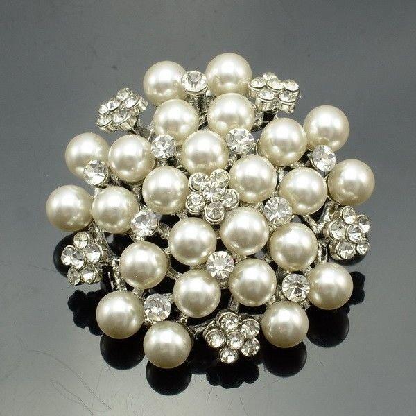 Rhinestone Crystal Wedding Faux Pearl Flower Brooch Pins Bridal Jewelry FB1200