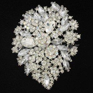 "5pcs Swarovski Crystal Bridal Clear Flower Brooch Pin 3.9"" For Wedding Wholesale"