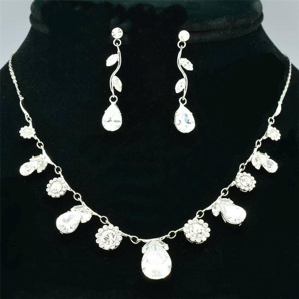 Teardrop Flower Necklace Earring Set Bride Clear Zircon Swarovski Crystal 080103