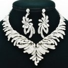 Bridal Wedding Rhinestone Crystal Fancy Flower Necklace Earring Jewelry Set 6731