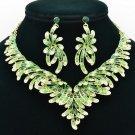 Elegant Flower Necklace Earring Jewelry Set Rhinestone Crystal Women Party 6731