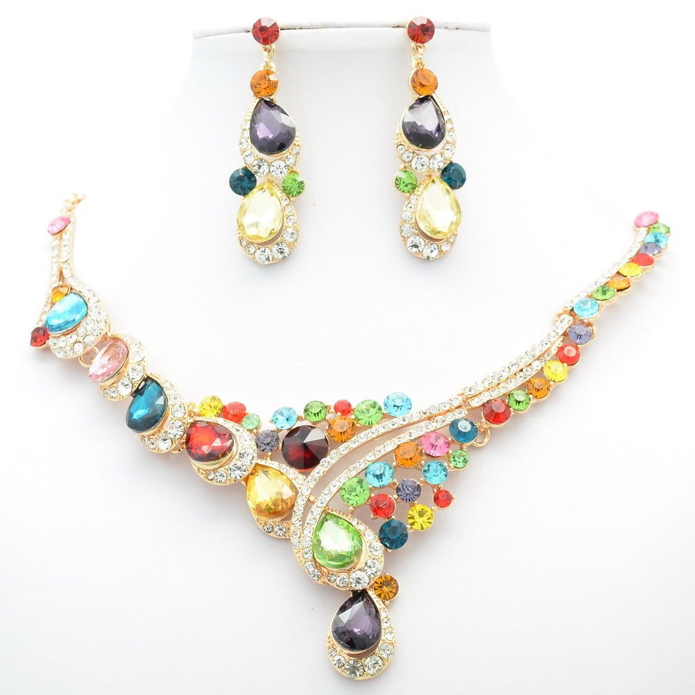 Charming Flower Necklace Earring Sets Women Jewelry Rhinestone Crystals 02830