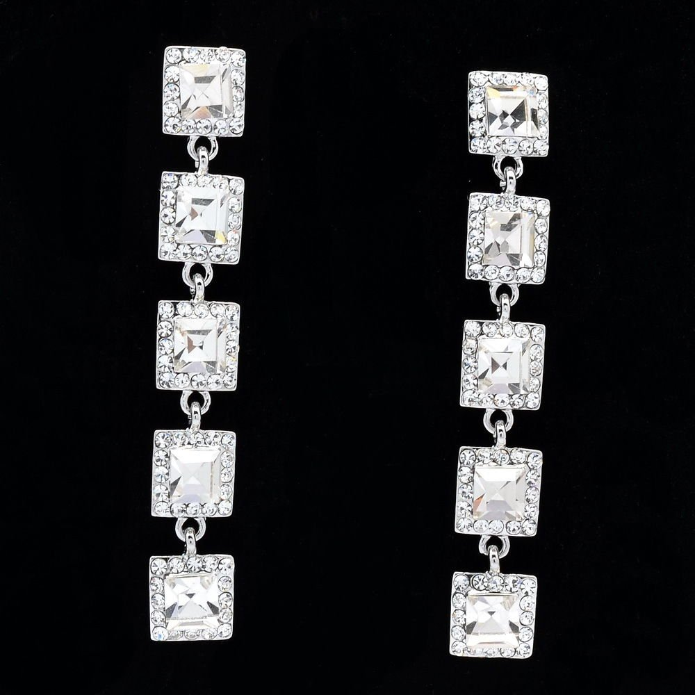Bridal Party Prom Women Rhinestone Crystals Square Drop Pierced Earrings 145826