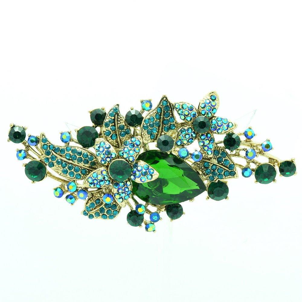 Vintage Glitzy Drop Leaf Flower Brooch Broach Pin Green Rhinestone Crystal 6405