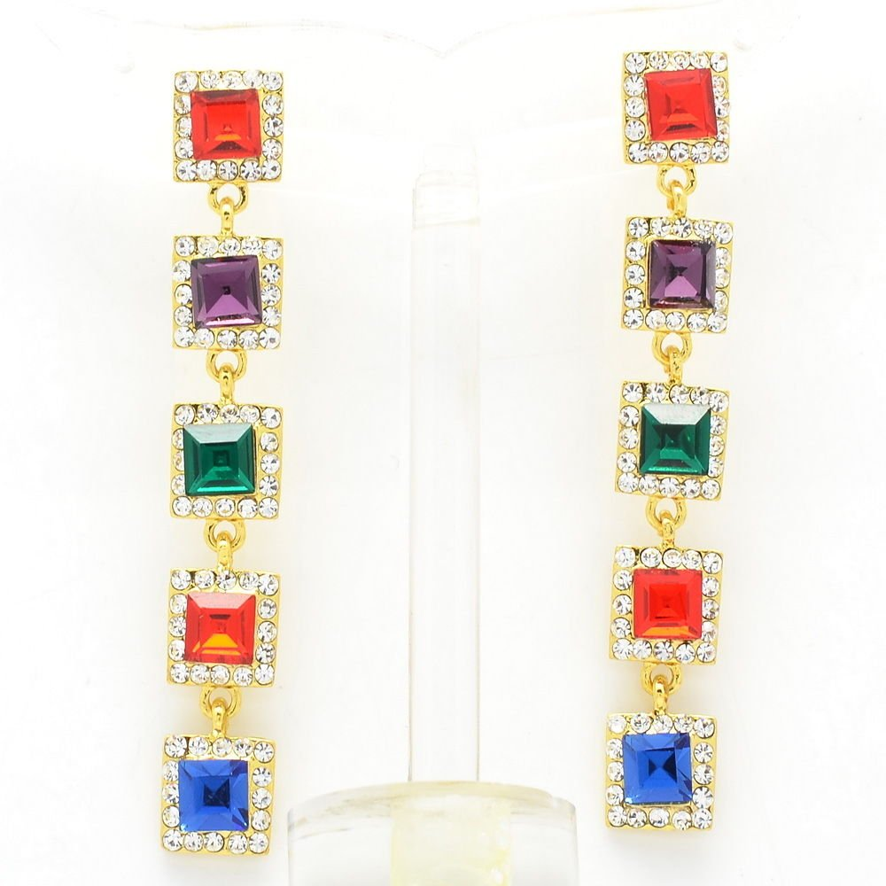 Rhinestone Crystals Multicolors Square Drop Pierced Earrings Party  Prom 145826