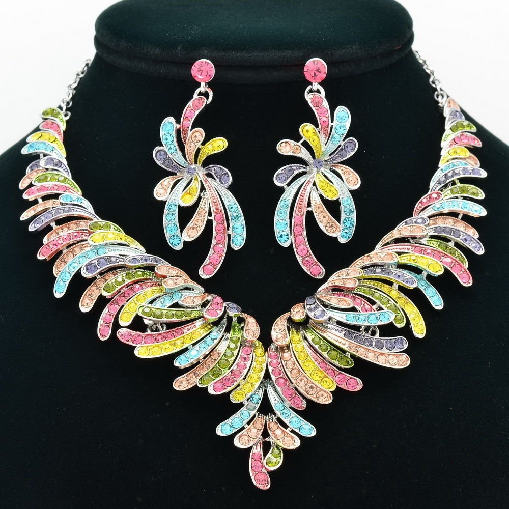 Tiptop Flower Necklace Earrings Jewelry Set Women Party Rhinestone Crystals 6731