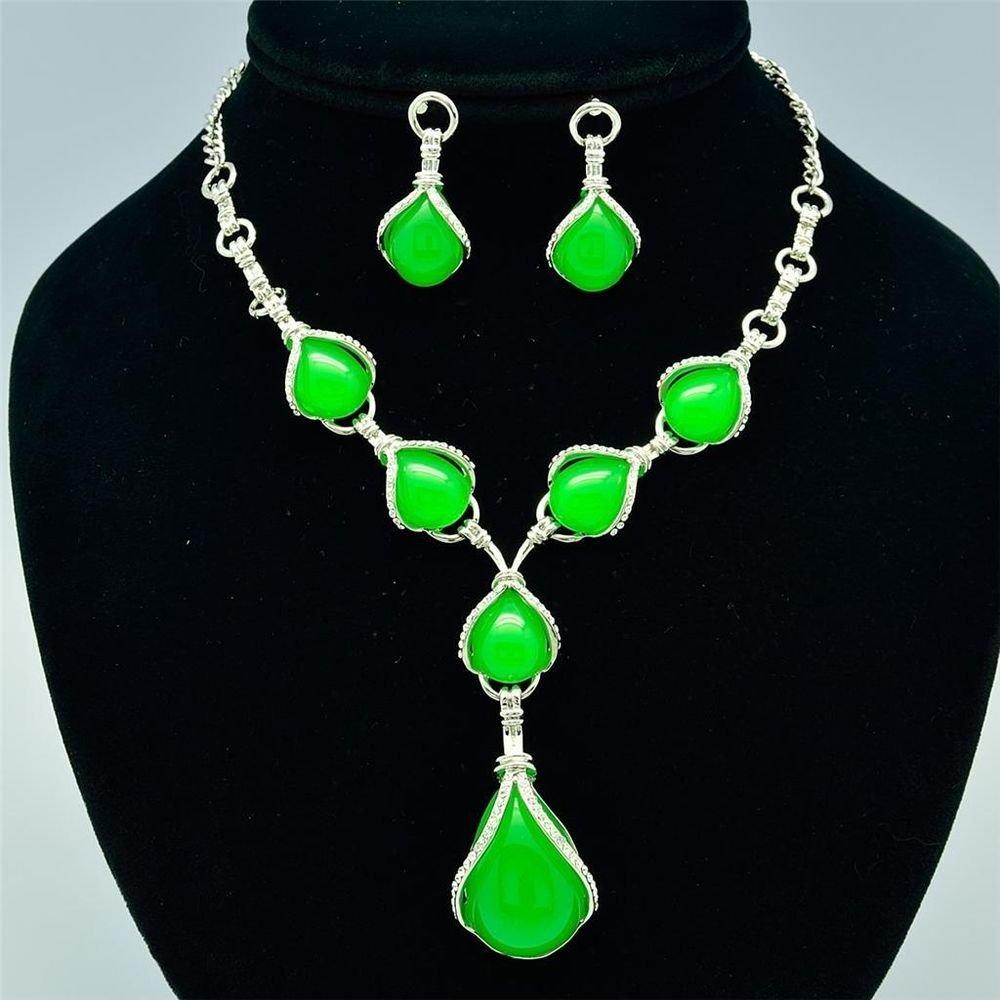 Drop Green Opal Resin Necklace Earring Set W/ Clear Rhinestone Crystals 16230