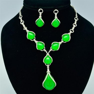 Drop Green Opal Resin Necklace Earring Set W/ Clear Rhinestone Crystals 16230