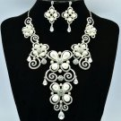 Clear Faux Pearl Necklace Earring Sets Women Jewelry Swarovski Crystals 624101