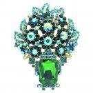 Attractive Leaf Flower Brooch Pin Pendant Green Rhinestone Crystals Oblong 6411
