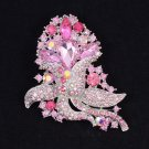 "Gorgeous Pink Flower Brooch Broach Pin 3.1""Rhinestone Crystals for Women 8804226"