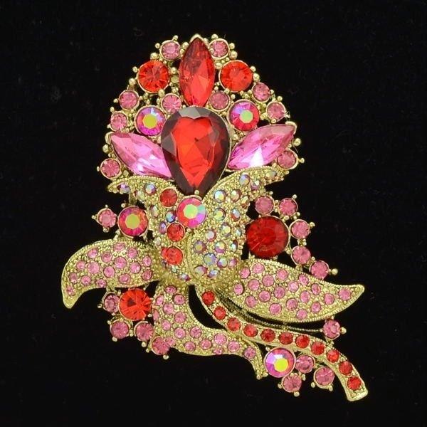 """Pretty Red Rhinestone Crystal Floral Flower Brooch Broach Pin 3.1"""" w/ Women 4226"""