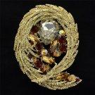 Delicate Brown Flower Brooch Brooch Pin Drop Rhinestone Crystals for Women 4236
