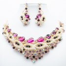 H-Quality Rules Purple Flower Leaf Necklace Set Rhinestone Crystal Jewelry 02777