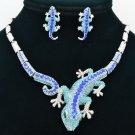 Women Animal Blue Gecko Lizard  Necklace Earring Set Rhinestone Crystals FA3274
