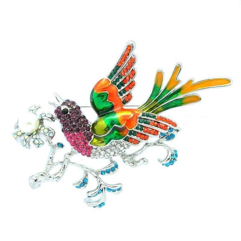 Purple Rhinestone Crystals Bird Magpie Brooch Broach Pin Women Jewelry OFA2117