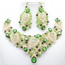 Super Jade Green Rhinestone Crystal Flower Large Leaf Necklace Set Jewelry 02780