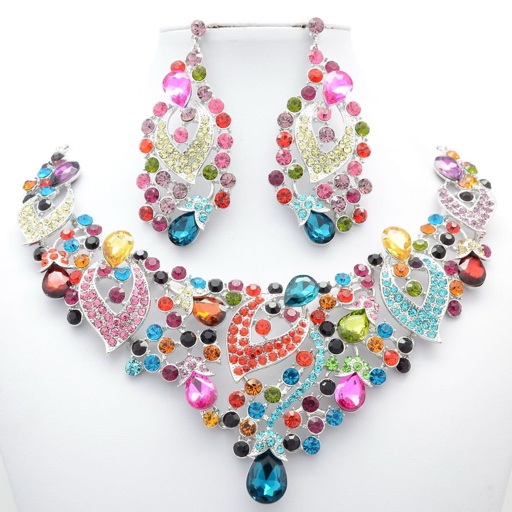 Excellent Mix Flower Large Necklace Set Rhinestone Crystal Women's Jewelry 02780