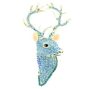 Rhinestone Crystal Animal Head Blue Deer Brooch Broach Pin Accessories FA3181