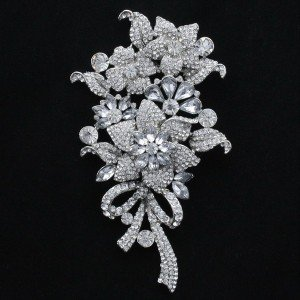 """4.5"""" Clear Flower Brooch Broach Pin W/ Rhinestone Crystals For Wedding"""