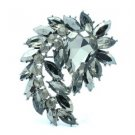 """Teardrop Pretty Flower Brooch Broach Pin 2.7"""" W/ Black Rhinestone Crystals"""