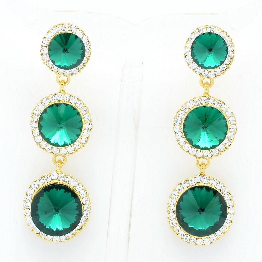 Sea Green Rhinestone Crystals Party Round Drop Pierced Earring Women Prom 138919