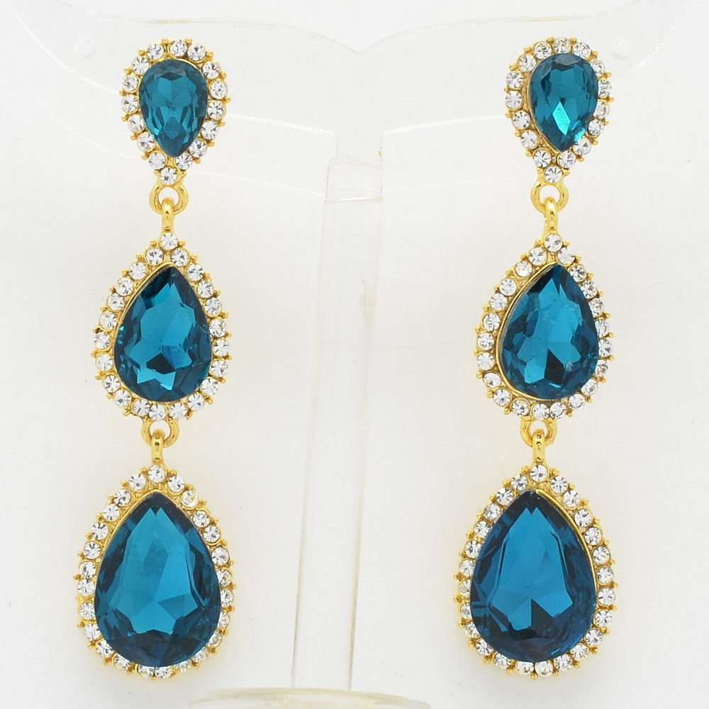 Rhinestone Crystals Women Sea Blue 3 Running Water Drop Pierced Earrings 139520