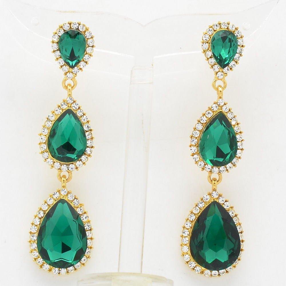 Rhinestone Crystal Women Dangle Chic Sea Green Water Drop Pierced Earring 139520