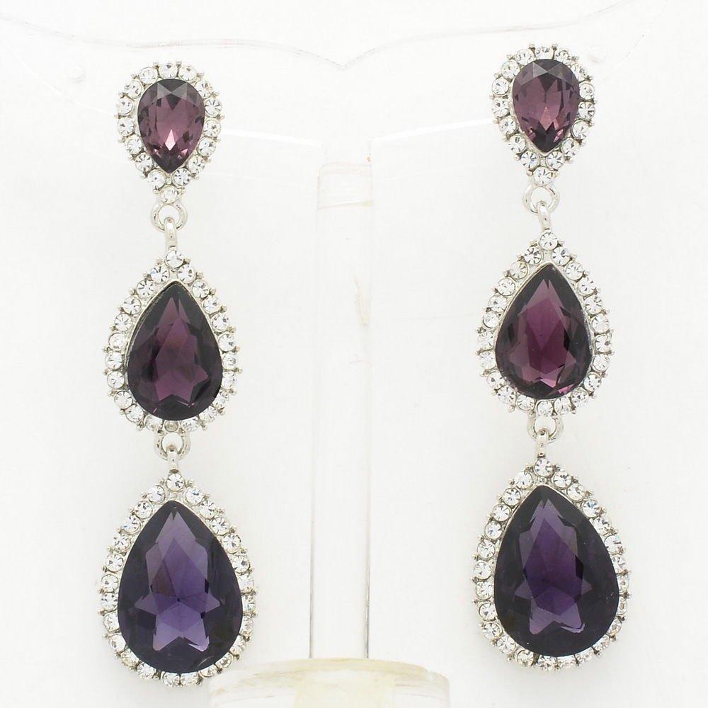 Women Graceful Grape Purple Water Drop Pierced Earring Rhinestone Crystal 139520