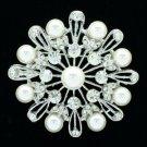 Rhinestone Crystal Wedding Bridal Round Flower Brooch Pins White Pearl Broach