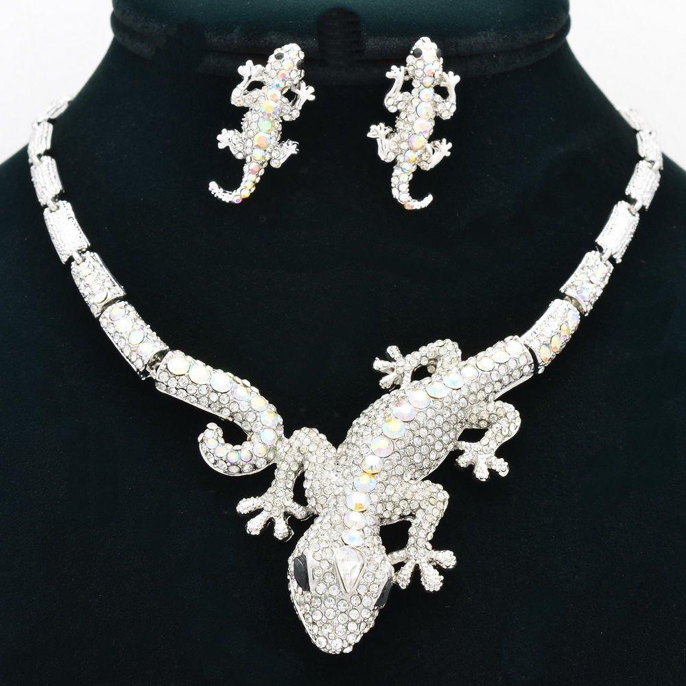 Silver Tone Clear Lizard  Necklace Earring Set Women Rhinestone Crystals FA3274