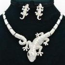 Silver Tone Clear Lizard  Necklace Earring Set Women Rhinestone Crystals FA3274