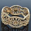 VTG Style Rhinestone Crystal Gold Tone Flower Bracelet Bangle Bridal Party 02030